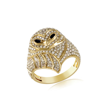 Yellow Gold 3D OWL Hip Hop Mens Fashion Ring