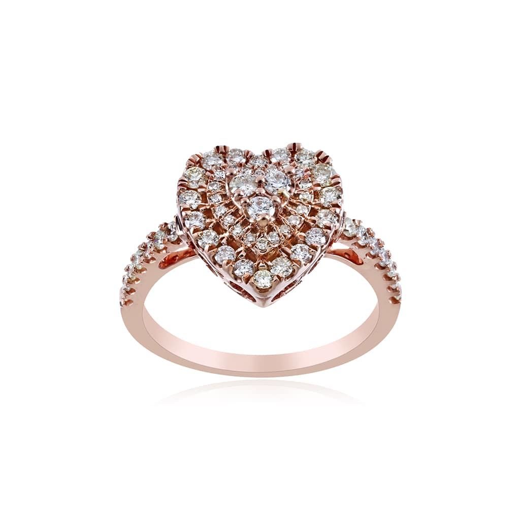Heart Ring 3/4 ct Round-cut Diamond By Fehu Jewel