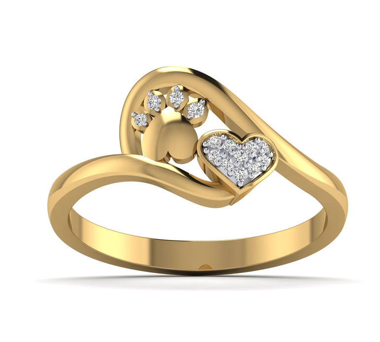 Dog Pow & Heart Shapes Natural Diamond Valentine ring in Gold Plated Silver by FEHU