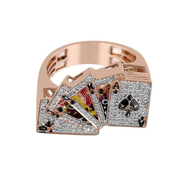 rose gold Playing Card Gambler Ring for Men