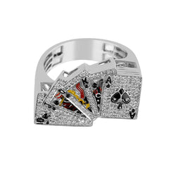 white gold Playing Card Gambler Ring for Men