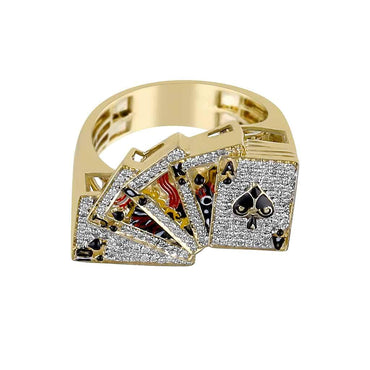 yellow gold Playing Card Gambler Ring for Men