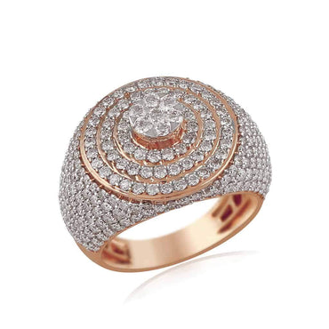 Men's Halo Diamond Ring rose gold