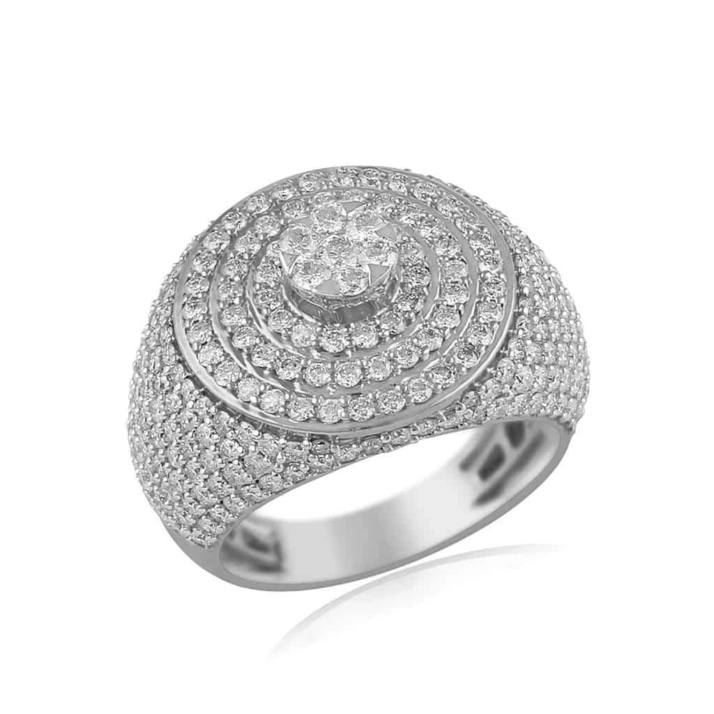 Men's Halo Diamond Ring white gold