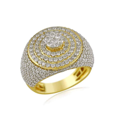 Men's Halo Diamond Ring yellow gold
