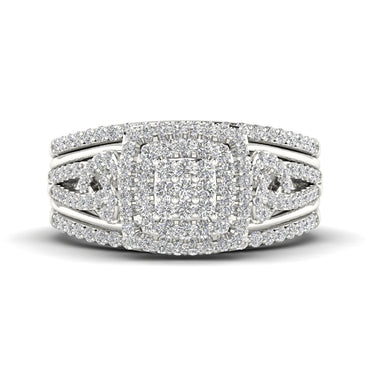 Fehu Jewel Halo Engagement Ring Set Gold 0.46ct Natural Round Cut Diamond