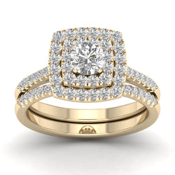 Fehu Jewel Halo Engagement Ring Set for Bridal with 0.75ct Natural Diamond