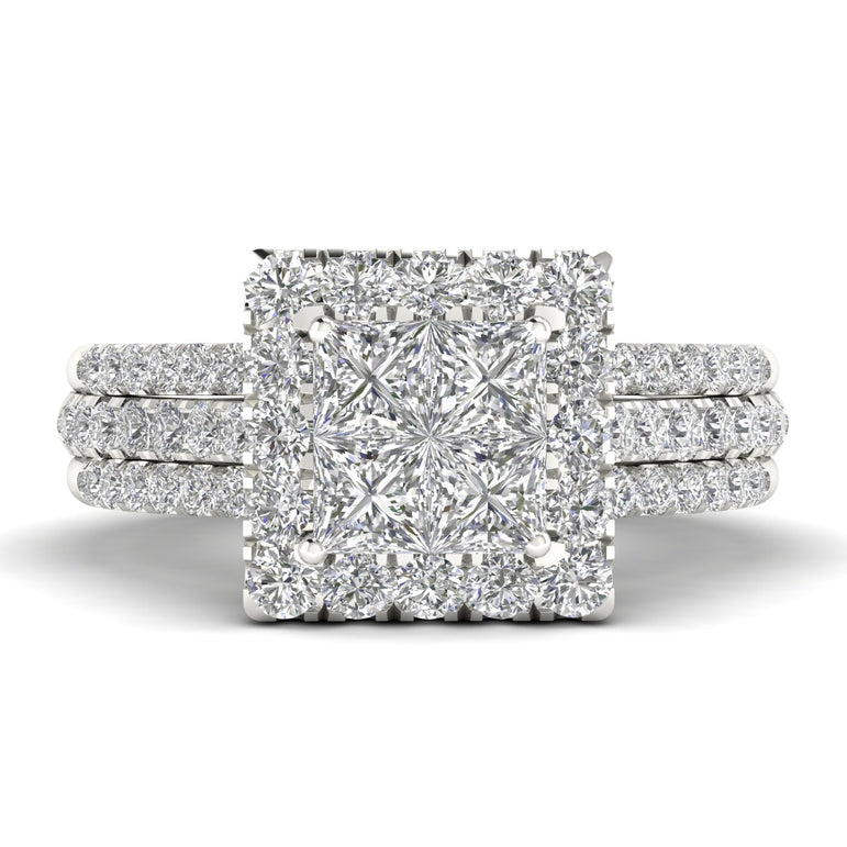 Fehu Jewel Bridal Halo Ring Set With 0.75ct Natural Diamonds.