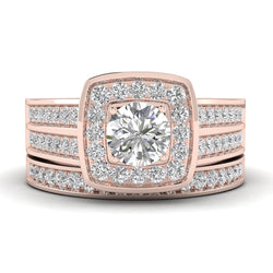 Fehu Jewel Bridal Ring Set, Engagement Ring Gold 0.65ct Natural Diamonds