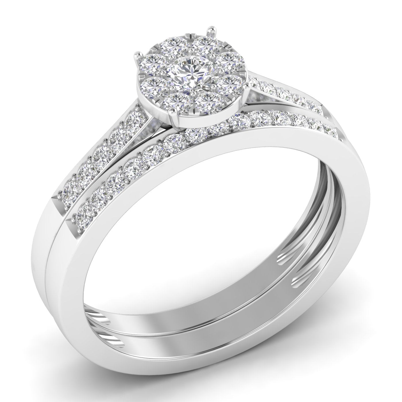 Fehu Jewel Bridal Halo Ring Set With 0.51ct Natural Diamonds.