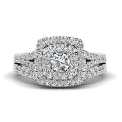 Fehu jewel Bridal Ring Set Halo Engagement Ring With 1.00ct Natural Diamond.