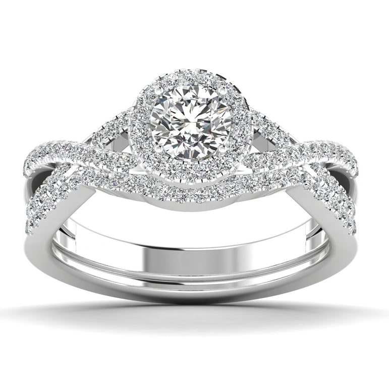Fehu jewel Bridal Ring Set Halo Engagement Ring 0.75ct Natural Diamonds.