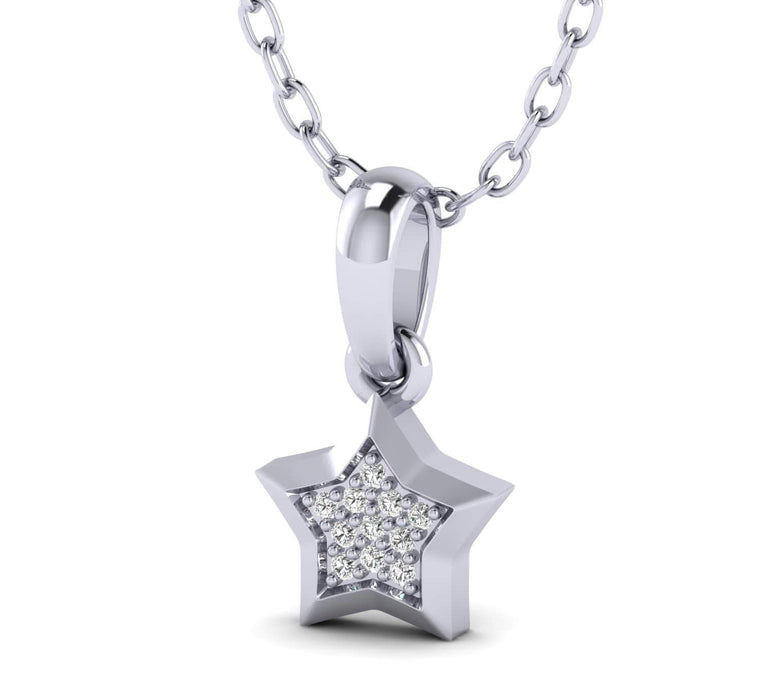 0.03 Natural Diamond Star Shaped White Gold Over Silver Diamond Pendant