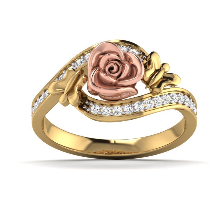 Yellow Gold Diamond Rose Ring With Small Butterfly