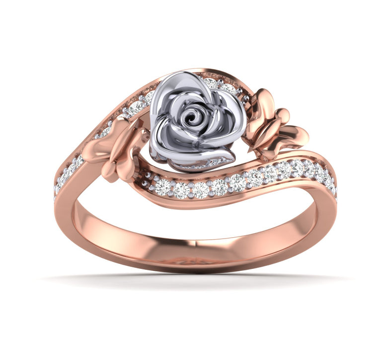 Rose Gold Diamond Rose Ring With Small Butterfly