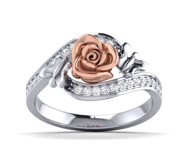 White Gold Diamond Rose Ring With Small Butterfly