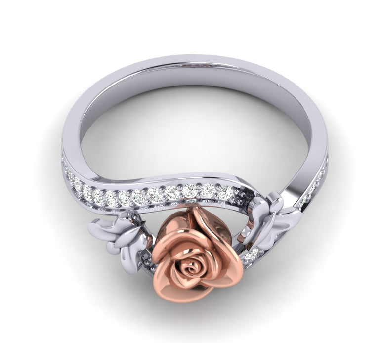 0.24 Ct Wt Natural Diamond Rose Ring With Small Butterfly Channel Setting In 10K, 14K and Silver By Fehu Jewel