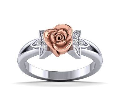 White Gold Diamond Rose Ring With leaf