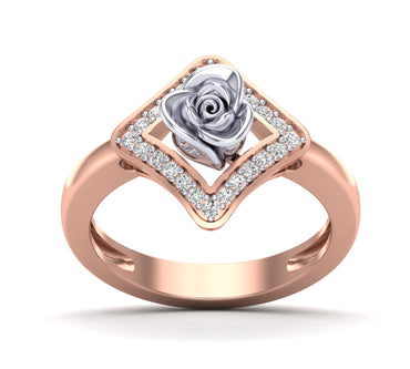 Rose Gold Rose Inside Square Channel Setting Ring