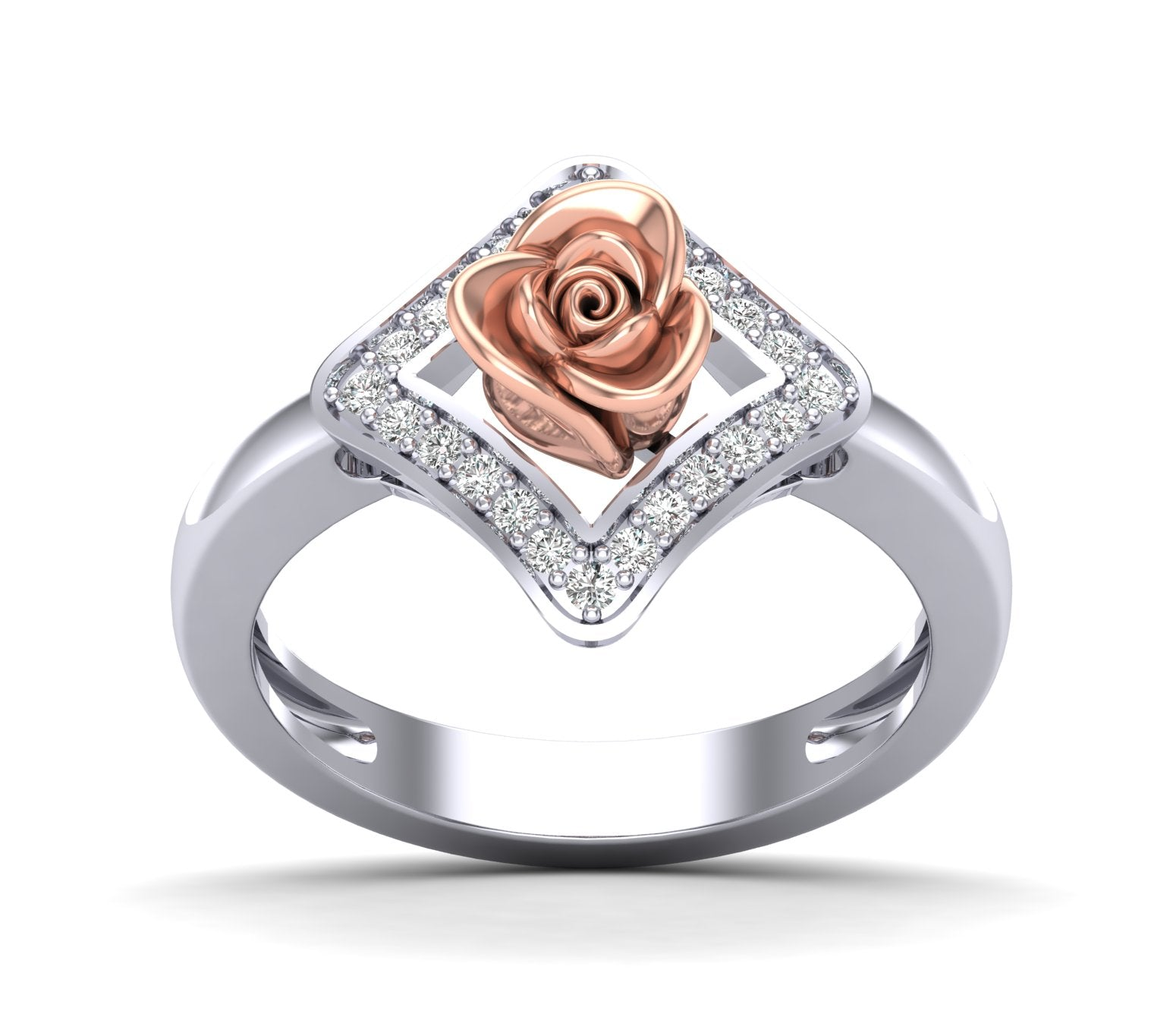 White Gold Rose Inside Square Channel Setting Ring