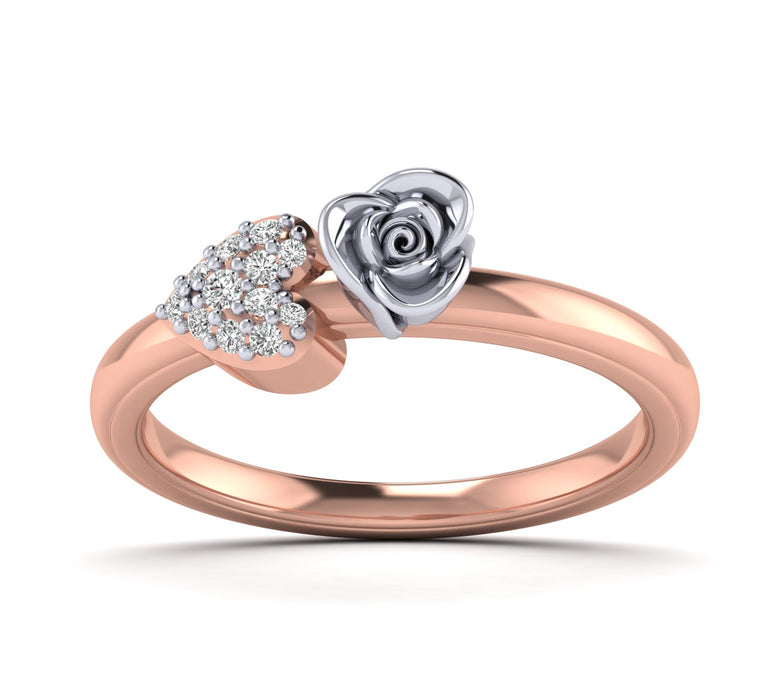 0.10 Ct wt Natural Diamond Rose Ring with Heart in 10K, 14K and Silver by Fehu Jewel