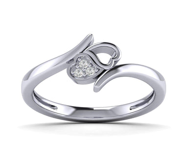 1/10ct Natural Diamond Gold Plated Silver Heart Diamond Ring For Newly Engaged Couple