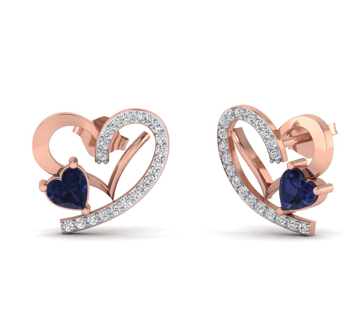 1/5ct Natural Diamond And Blue Heart Gemstone 14k Gold Earrings For Woman