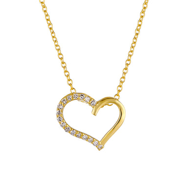 1/6ct Natural Diamond Heart Gold plated Silver Necklace Pendant For Women