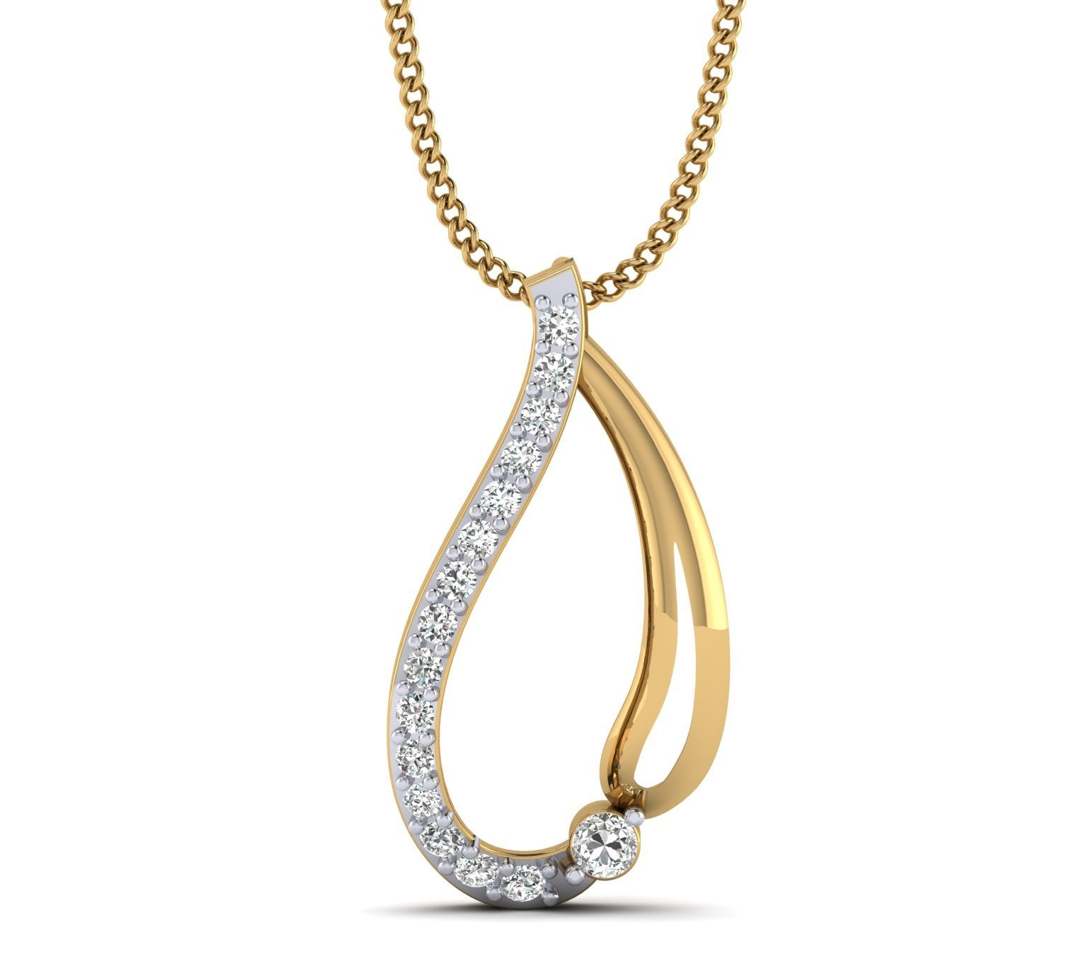 Natural Diamond Gold Plated Solitaire Diamond Fancy Pendant for Her by FEHU jewel