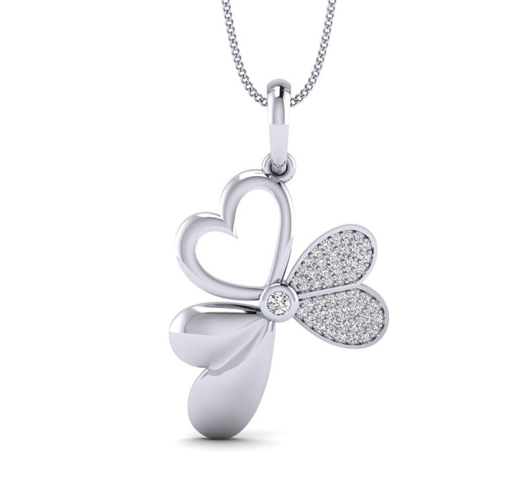 0.18ct Natural Round Diamond Heart and Butterfly Pendant in Gold Plated Silver by Fehu