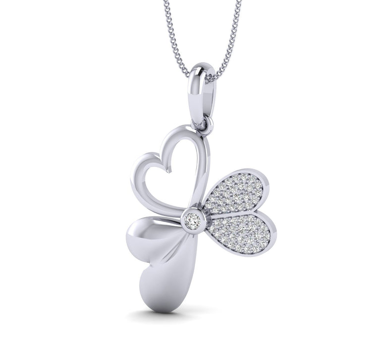 1/5ct Natural Round Diamond Heart and Butterfly Pendant in Gold Plated Silver by Fehu