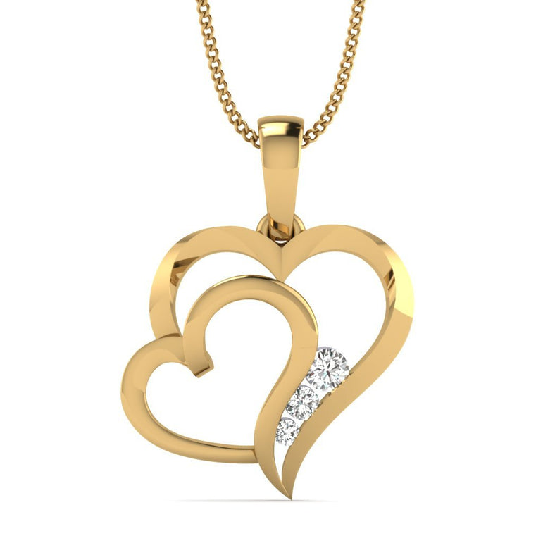 Yellow Gold Dual Heart Pendant