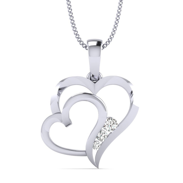 White Gold Dual Heart Pendant