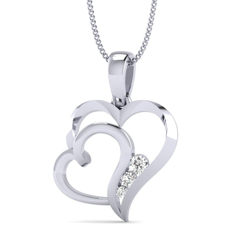 1/10ct Natural Diamond Dual Heart Pendant in Gold Plated Silver By FEHU