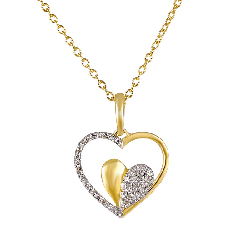 1/4 CT. T.W Natural Diamond Double Heart Pendant in Sterling Silver, 14K and 10K Gold.