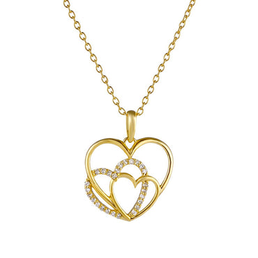 1/6ct Natural Diamonds Gold Plated Silver Three Heart's in One Heart Diamond Pendant