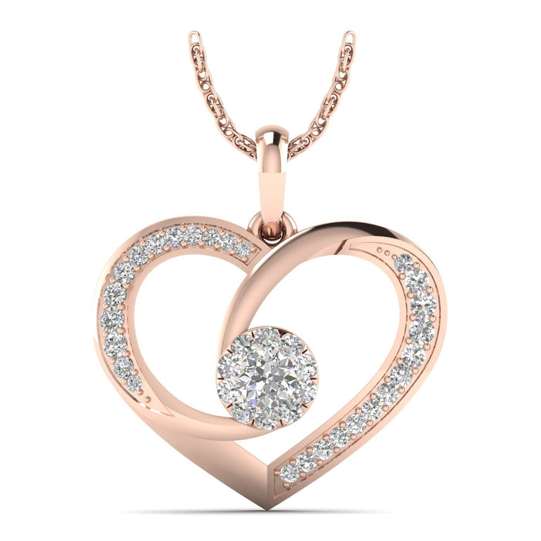 3/8ct Natural Diamond Gold Plated Silver Heart and Solitaire Diamond Pendant For Women