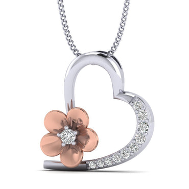 1/10ct Natural Diamond White Gold Plated Silver Fashion Heart Pendant Necklace
