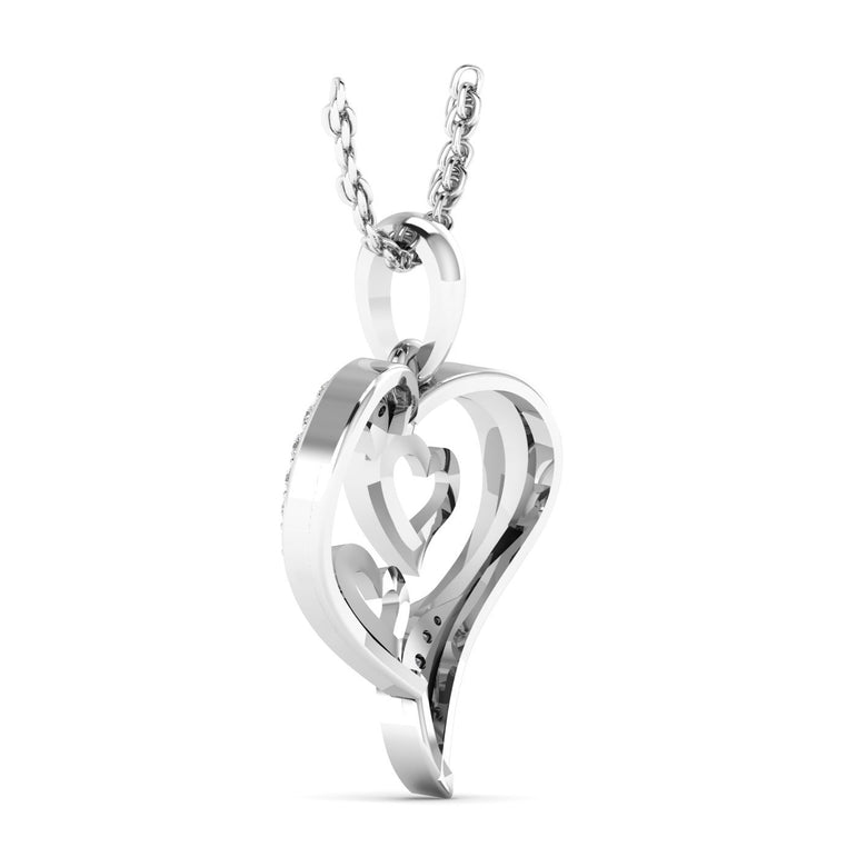 0.096ct Natural Diamond Heart and Solitaire Diamond Pendant in Gold Plated Silver by Fehu