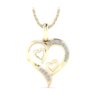 3/8ct Natural Diamond Heart and Solitaire Diamond Pendant in Gold Plated Silver by Fehu