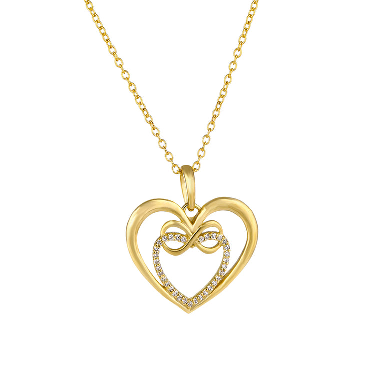 Yellow Gold Diamond Infinity Heart necklace