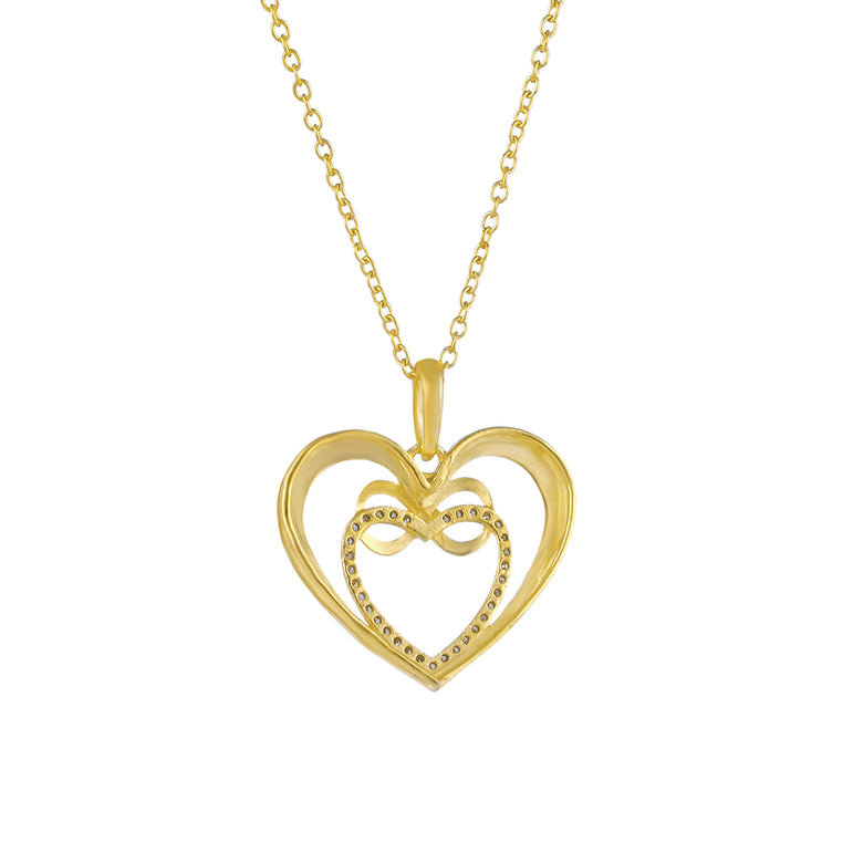 1/8 CT. T.W Natural Diamond Infinity Heart necklace in Sterling Silver, 10K, and 14k Gold.