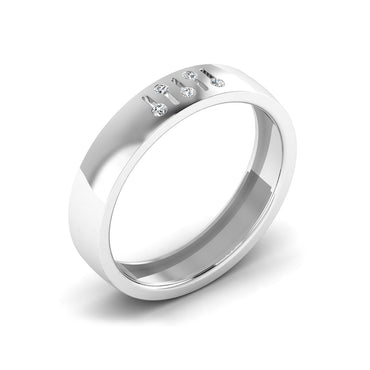 Five Stone Diamond In Line Men's Wedding Band By Fehu Jewel