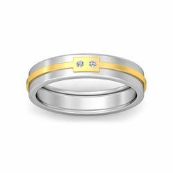 Two Stone Diamond with Plan Line Men's Wedding Band By Fehu Jewel
