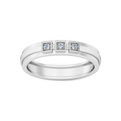 Three Stone Diamond With Plan Line Men's Wedding Band By Fehu Jewel