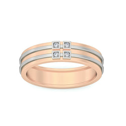 Four Stone Diamond With Plan Line Men's Wedding Band By Fehu Jewel