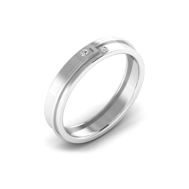 Two Stone Diamond With Side Line Men's Wedding Band By Fehu Jewel