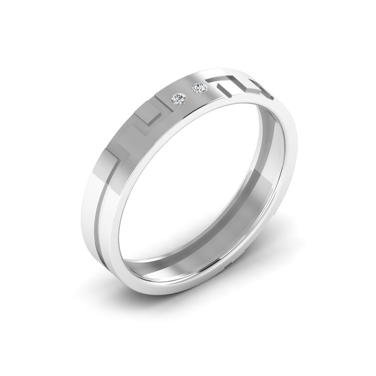 Two Stone Diamond With Line Men's Wedding Band By Fehu Jewel
