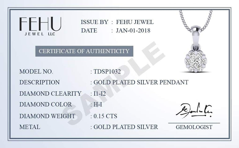 1/10ct Natural Diamond Accent Penguin Pendant Necklace in Gold Plated silver by FEHU