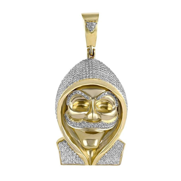 Anonymous Mask Hacker Pendant yellow gold